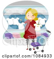Clipart Blond Pregnant Woman Shopping For Baby Clothes Royalty Free Vector Illustration