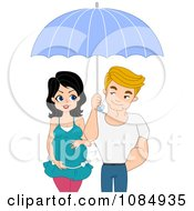 Clipart Happy Pregnant Couple Under An Umbrella Royalty Free Vector Illustration