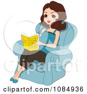 Clipart Brunette Pregnant Woman Reading In A Chair Royalty Free Vector Illustration