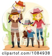 Clipart Happy Family Dressed As Cowboys Royalty Free Vector Illustration by BNP Design Studio