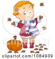 Clipart Toddler Playing In Autumn Leaves Royalty Free Vector Illustration