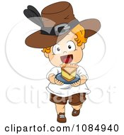 Clipart Thanksgiving Toddler Pilgrim Carrying A Slice Of Pie Royalty Free Vector Illustration by BNP Design Studio