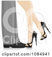 Clipart Formal Couples Feet With The Woman Kicking Her Leg Back Royalty Free Vector Illustration