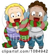 Clipart Christmas Toddlers Sharing A Scarf Royalty Free Vector Illustration