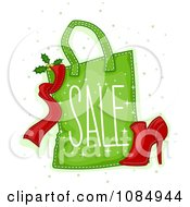 Clipart Green Christmas Sale Shopping Bag And Shoe Royalty Free Vector Illustration
