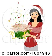 Clipart Christmas Woman Holding A Gift Box Of Confetti Royalty Free Vector Illustration by BNP Design Studio