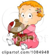 Clipart Christmas Toddler In Pjs Hugging A Teddy Bear Royalty Free Vector Illustration by BNP Design Studio
