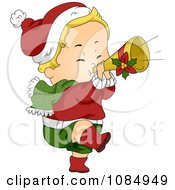 Clipart Christmas Toddler Playing A Trumpet Royalty Free Vector Illustration