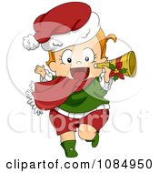 Clipart Christmas Toddler Running With A Trumpet Royalty Free Vector Illustration by BNP Design Studio