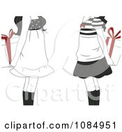Clipart Black And White Gift Exchange Girls Holding Presents With Red Bows Behind Their Backs Royalty Free Vector Illustration by BNP Design Studio