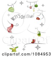 Clipart Merry Christmas Greeting Border With Holiday Icons Royalty Free Vector Illustration