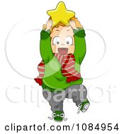 Clipart Christmas Toddler Holding A Star To His Head Royalty Free Vector Illustration by BNP Design Studio