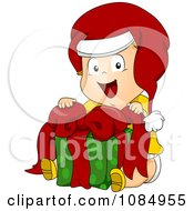 Clipart Christmas Toddler Sitting With A Gift Royalty Free Vector Illustration by BNP Design Studio