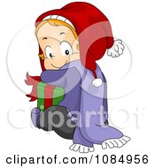 Clipart Christmas Toddler Hugging A Gift Royalty Free Vector Illustration by BNP Design Studio