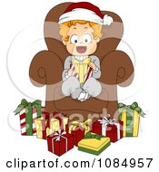 Clipart Christmas Toddler Sitting In A Chair Surrounded By Presents Royalty Free Vector Illustration by BNP Design Studio