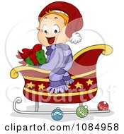 Clipart Christmas Toddler Sitting In A Sleigh With A Gift Royalty Free Vector Illustration by BNP Design Studio