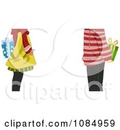 Clipart Mid Body View Of A Couple Exchanging Christmas Gifts Royalty Free Vector Illustration by BNP Design Studio