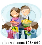 Clipart Happy Family Exchanging Christmas Gifts Royalty Free Vector Illustration by BNP Design Studio