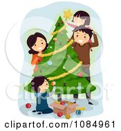 Clipart Happy Family Trimming Their Christmas Tree Royalty Free Vector Illustration