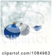 Clipart 3d Blue And Silver Christmas Baubles And Snowflakes With Copyspace Royalty Free Illustration by MilsiArt
