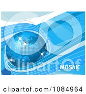 Clipart 3d Blue Mosaic Globe Waves And Text Royalty Free Vector Illustration by elaineitalia