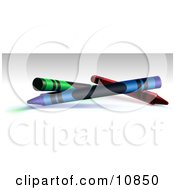 Green Blue And Red Crayons On A Shaded Background Clipart Illustration