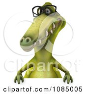 Clipart 3d Dinosaur Wearing Eye Glasses And Holding A Sign 2 Royalty Free CGI Illustration