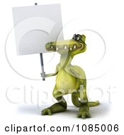 Clipart 3d Dinosaur Wearing Eye Glasses And Holding A Sign 1 Royalty Free CGI Illustration