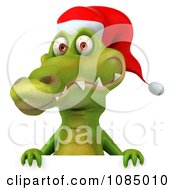 Clipart 3d Christmas Crocodile With A Sign 2 Royalty Free CGI Illustration