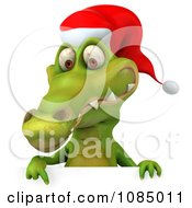 Clipart 3d Christmas Crocodile With A Sign 3 Royalty Free CGI Illustration