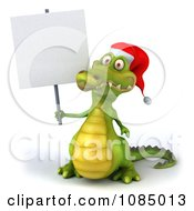 Clipart 3d Christmas Crocodile With A Sign 1 Royalty Free CGI Illustration