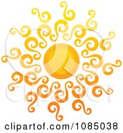 Clipart Hot Summer Sun With Swirly Rays Royalty Free Vector Illustration