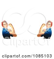 Two Rosie The Riveters Flexing Their Muscles Royalty Free Stock Illustration by JVPD #COLLC1085103-0002