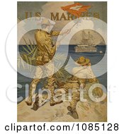 Soldiers Using Signal Flags Free Stock Illustration
