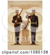 Two Marine Soldiers Free Stock Illustration