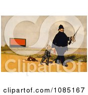 Canadian Policeman With A German Soldier And Dachshund Dog Free Stock Illustration