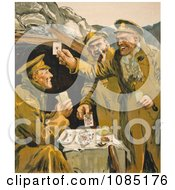 Soldiers Playing Cards Royalty Free Stock Illustration