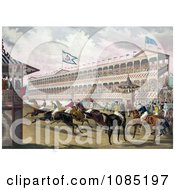 Group Of Anxious Jockeys Rushing Away From The Start Line At Jerome Park New York Royalty Free Stock Illustration by JVPD #COLLC1085197-0002