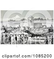 Group Of People Watching From The Sidelines Of A Horse Race Royalty Free Stock Illustration