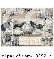 Agricultural Diploma With Jockeys Racing Horses Livestock Produce And Farming Tools Royalty Free Stock Illustration