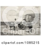Two Beautiful Women By A Carriage On A Beach