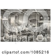 Child And Men Tending To Race Horses In A Stable Royalty Free Stock Illustration