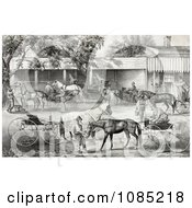 People Gathering Water For Their Hoses While Stopping In A Village Royalty Free Stock Illustration