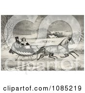 Man And Lady Riding In A Horse Drawn Sleigh On A Wintry Road