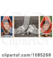 Vintage Baseball Card Of George Joseph Moriarty And Ty Cobb With A Center Photo Royalty Free Stock Illustration
