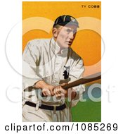 Vintage Baseball Card Of Ty Cobb Of The Detroit Tigers Swinging A Baseball Bat Royalty Free Stock Illustration