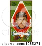 Vintage Baseball Card Of Ty Cobb Of The Detroit Tigers With Baseball Gear Over Green Royalty Free Stock Illustration