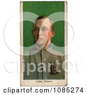 Vintage Baseball Card Of Detroit Tigers Baseball Player Ty Cobb Over Green Royalty Free Stock Illustration