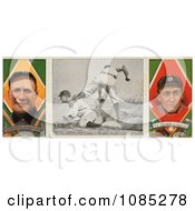 Vintage Baseball Card Of Hughie Jennings And Ty Cobb With A Center Photo Royalty Free Stock Illustration