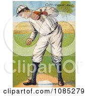Vintage Baseball Card Of Ty Cobb Standing Over A Base And Looking Down Royalty Free Stock Illustration